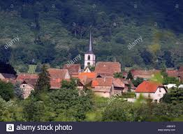 small tiny little short alsace steeple small town community