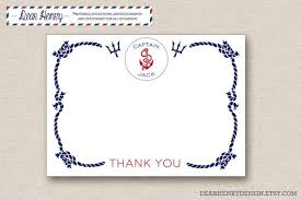 nautical birthday thank you cards printable note card
