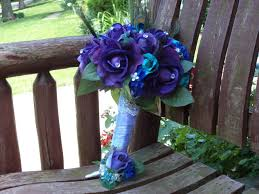 peacock wedding peacock bridal bouquet teal and purple real touch silk bridal