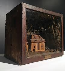 diorama of slab hut working model of the world