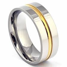 14k gold wedding band 14k gold inlay two tone titanium wedding band his hers