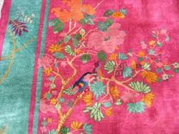 Red Turquoise Rug Chinese Art Deco Rugs