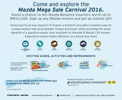 mazda pre owned mazda mega sale carnival 3 4 september 2016 autoworld com my