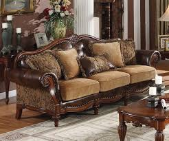Chenille Living Room Furniture by Traditional Sofas Dreena Traditional Bonded Leather And Chenille