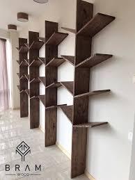 ash wood bookshelf tree handmade by bram wood