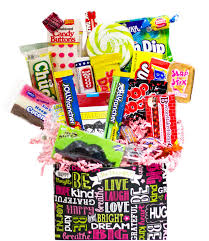 candy gift baskets chalkboard sentiments retro candy gift basket