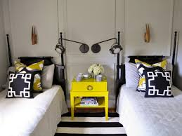 eclectic black and yellow guest room evaru design hgtv