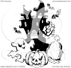 halloween clipart ghost clipart of a sketched black and white haunted house with a