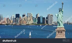 statue liberty new york city skyline stock photo 71446003