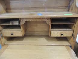 vintage oak bookcase w fold down desk
