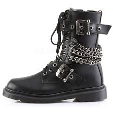 mens leather motorcycle boots chain accented mens combat boot defiant 204 demonia unisex boots