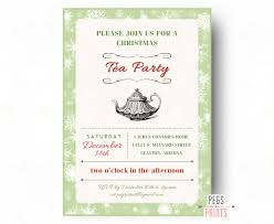 christmas tea party invitation printable holiday tea party
