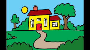 how to draw and color a house with a garden art for kids