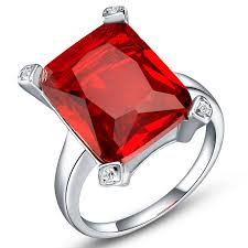 diamond red rings images Women engagement simulated red diamond rings square silver plated jpg