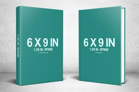 two 6 x 9 hardcovers standing psd mockup covervault