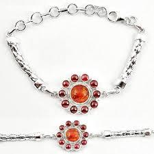 garnet sterling silver bracelet images Clearance orange amber red garnet round 925 sterling silver JPG