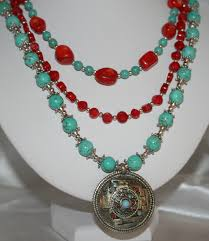 tibetan silver pendant necklace images Turquoise beaded amulet pendant statement by 123gemstones on zibbet jpg