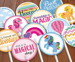my pony cupcake toppers ponies cupcake toppers party circles instant