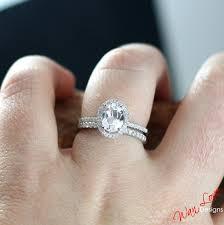 white topaz engagement ring white topaz diamond oval halo engagement ring 2ct 8x6mm band