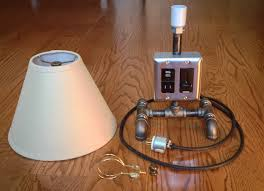 diy pipe lamp with eletrical outlet and usb charger