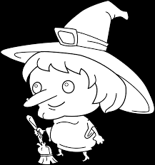 cute witch coloring free clip art