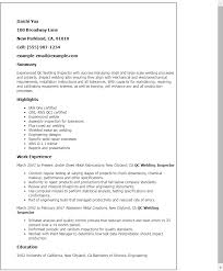 Welder Job Description For Resume Professional Qc Welding Inspector Templates To Showcase Your