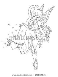 pencil drawing little goblin colorful flower stock illustration