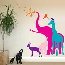 jungle wall decals j wall decal jungle wall decals artequals the bright blue pig seven safari animal wall stickers new sizes