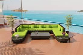 Patio Furniture Green by Outdoor Furniture Paros U Java Wicker Viro Sectional Sofa By Las