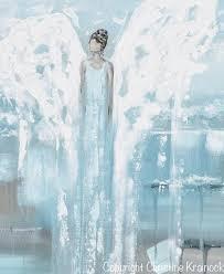 Grey Textured Paint - original angel painting guardian angel art blue white grey home
