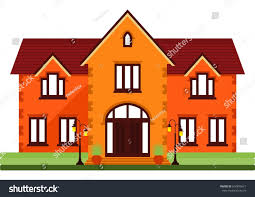 two storey house twostorey house on white background family stock vector 604875611