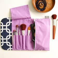 all in one brush roll u0026 makeup bag navy with purple u2013 effie handmade