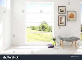 white room chair green landscape window stock illustration
