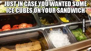 Subway Sandwich Meme - ice cubes on your sandwich humoar com