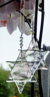 hanging ornaments iridescent glass and by geckoglassdesign