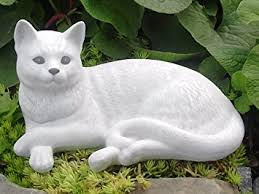 garden ornaments cat cast antique white co uk