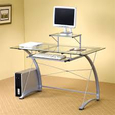 Desktop Decorations Glass Desk Glass Top Desks For Elegant But Simple Appereance