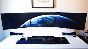 Gaming Desk For 3 Monitors by Super Clean Triple Monitor Setup Setup Spotlight Youtube