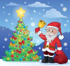 santa claus bell christmas tree vector art thinkstock