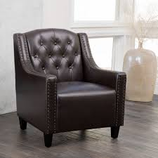 Leather Armchair Ebay Luxury Tufted Back Espresso Leather Upholstered Club Chair Arm