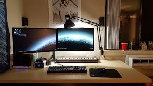 Top Gaming Desks by Mini Itx With Floating Dual 1080p Monitors On A Big Pale Ikea