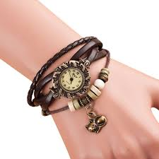 leather bracelet woman images Quartz weave around leather cat pattern bracelet woman wrist watch jpg