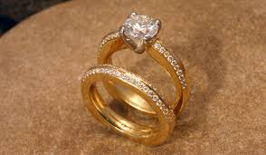 gold bridal set rings 18k yellow gold wedding set stonehaven jewelry gallery