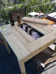 Build A Wooden Garden Table by Build A Patio Table With Built In Ice Boxes Diy Patio Patio