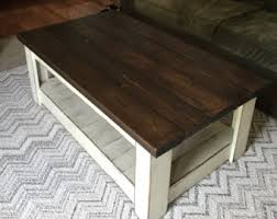 Distressed Table Farmhouse Antique Coffee Table Blue Stained Glass Shabby