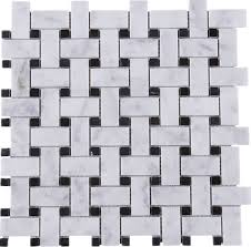 Marble Mosaic Tile Whca 09 White Carrara Series Bracket Weave Marble Mosaic Tile