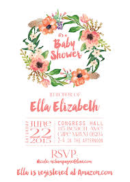 peach and pink floral baby shower invitation feather wreath