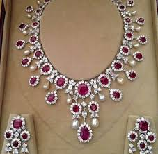 diamond necklace ruby images Diamond ruby necklace jewellery designs JPG