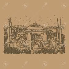 hagia sophia istanbul turkey vector freehand pencil sketch