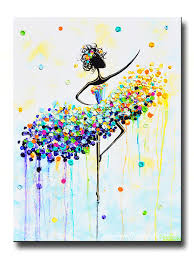Home Decor Canvas Art Giclee Print Art Abstract Dancer Painting Aqua Blue Canvas Prints